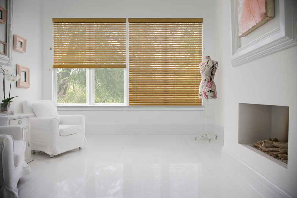 Living room with wooden blinds
